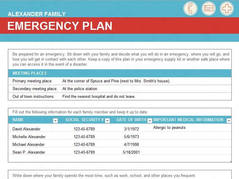 8 Family Emergency Plan Sheet Templates Word Excel Formats
