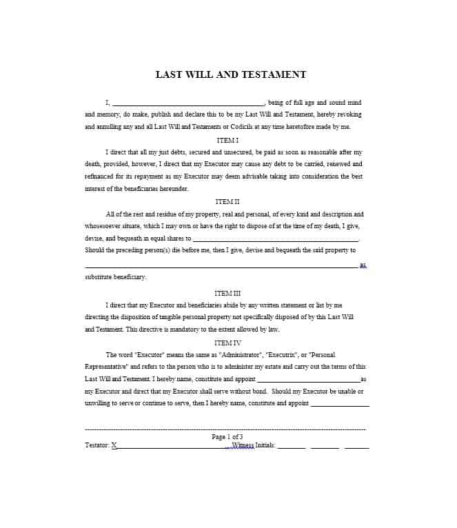 9 Last Will And Testament Templates Word Excel Formats