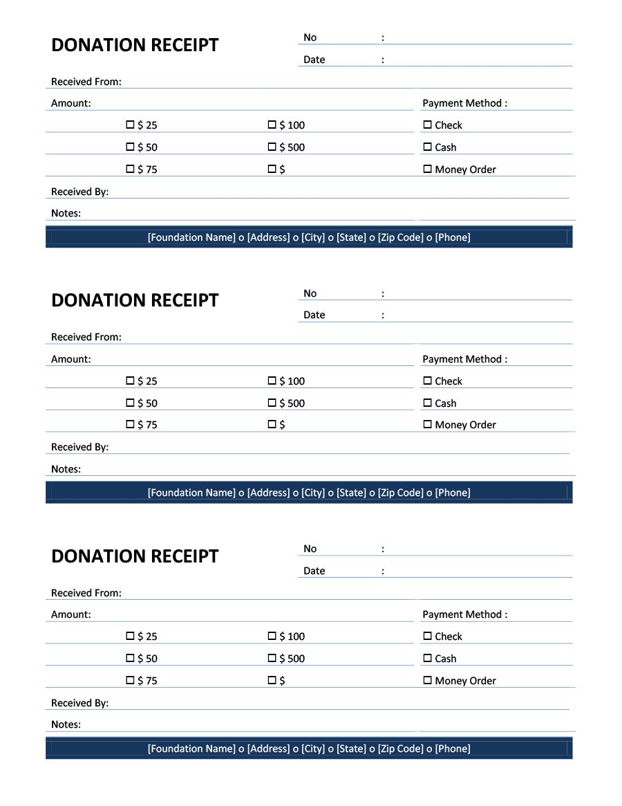 6  free donation receipt templates
