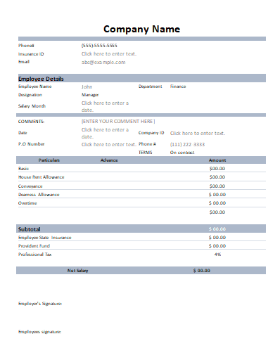 Pack of 28 Salary Slip Templates (Payslips) in 1 Click Word