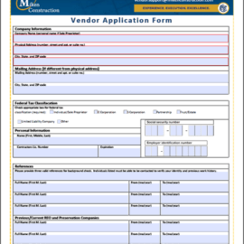 4+ Vendor Application Form Templates
