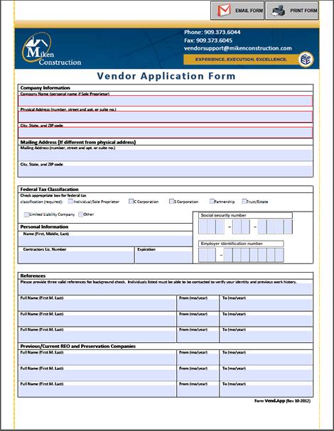 4  vendor application form templates